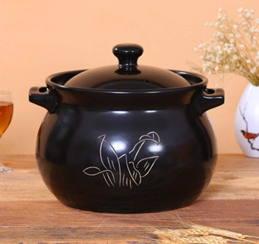 LIUSHI Home Stock Broth Ceramic Casserole, Stoneware Slow Cooker, Gas Saucepan - Chinese Stoneware Pot, 8L