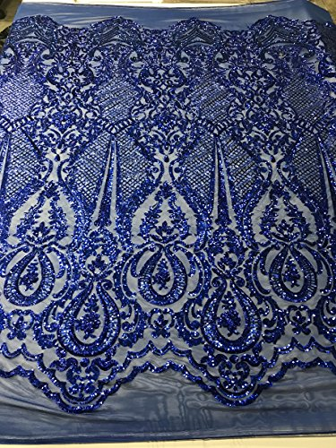 4 Way Embroidery Strech Sequins Fabrics - Royal Blue - Mesh Top Lace Fashion Fabric By The Yard
