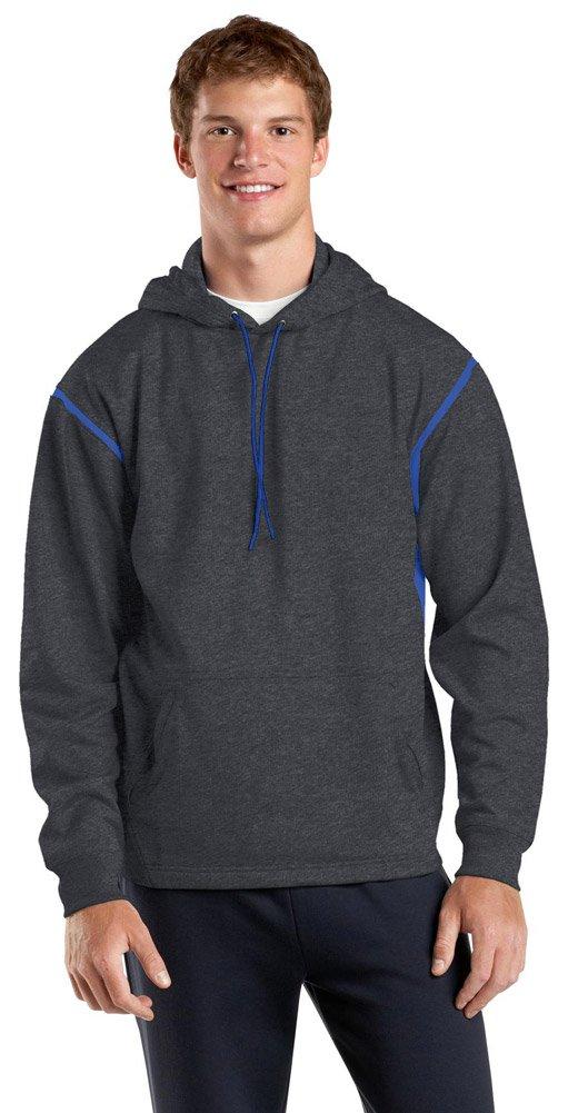 Sport-Tek Mens Tall Tech Fleece Colorblock Hooded Sweatshirt, LT, Graphite Heather/ True Royal by Sport-Tek