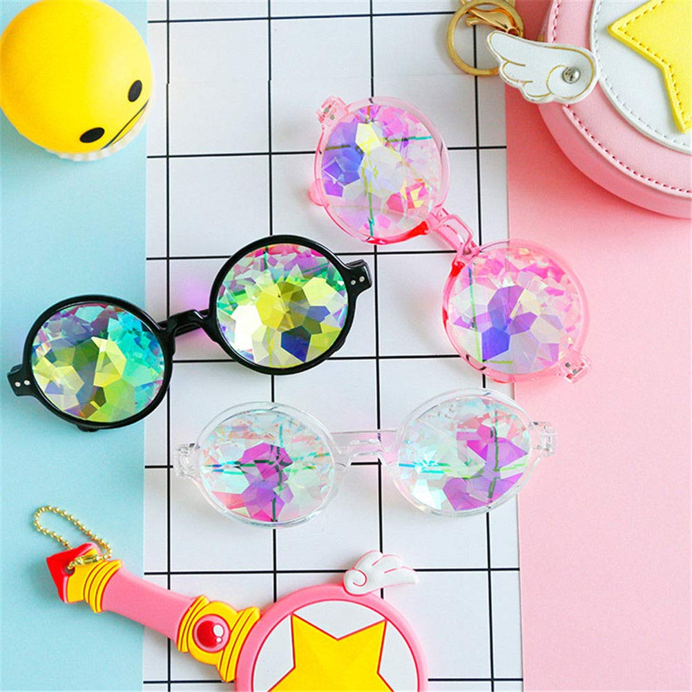 Magik Festival Party Rave Kaleidoscope Rainbow Round Glasses Diffraction Prism Glasses (Black+Pink+Clear 3 Pack) by Magik (Image #4)