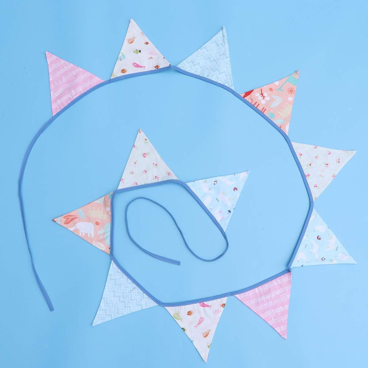 BESTOYARD 3M Banderines Banners Banner Adorable Animales Tela de algod/ón Bunting Garland 12 Banderas Triangulares Decoraci/ón para el cumplea/ños de la Boda Baby Shower Graduaci/ón