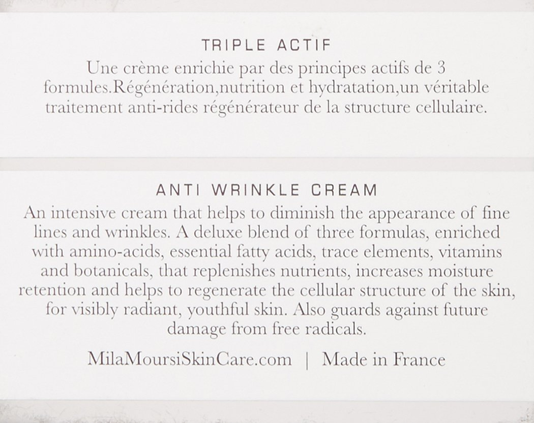 Mila Moursi Skin Care Anti Wrinkle Cream with Hyaluronic Acid, Hydrating and Skin Fortifying, Wrinkle Diminishing Day and Night Cream, 1.7 Fl Oz