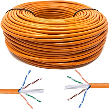 Mr. Tronic 50m Cable de Instalación Red Ethernet Bobina | CAT6, AWG24, CCA, UTP (50 Metros, Naranja): Amazon.es: Electrónica
