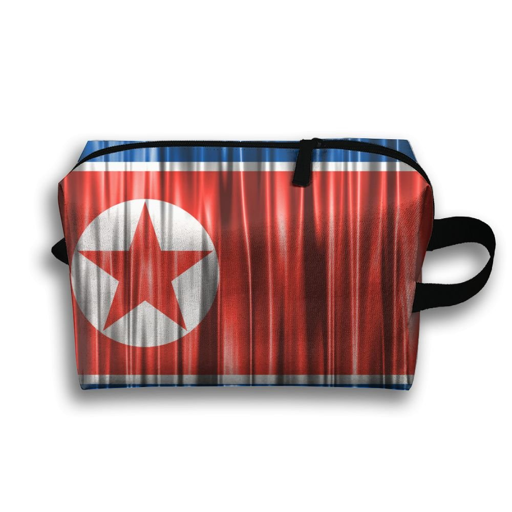 5b3a6403ff Leisue North Korea Flag Cosmetic Bag Zipper Makeup Accessories Pouch  Toiletries Bags Pen Pencil Power Lines