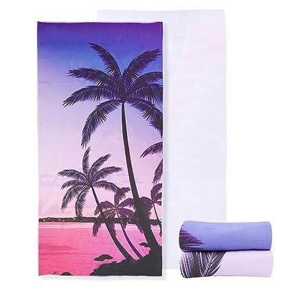 "Urijk Coconut Tree Microfiber Beach Towel, 30"" x 60"", 3D Printed Yoga"