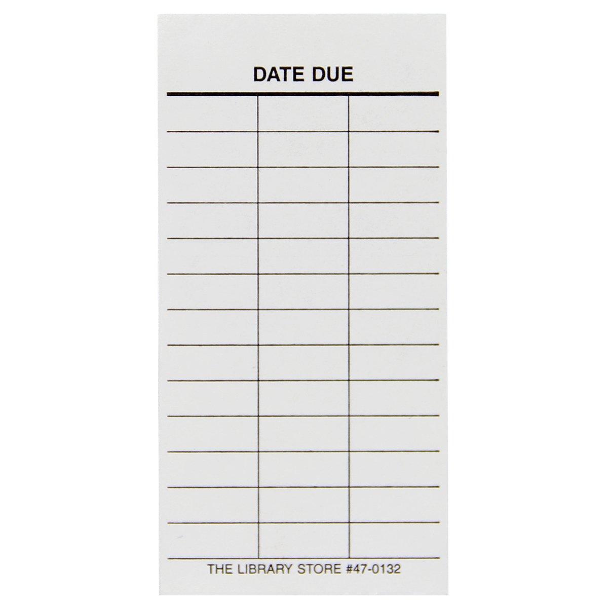 Date Due Media Slips - 4'' x 2'' - 3 Column - 100 Pk