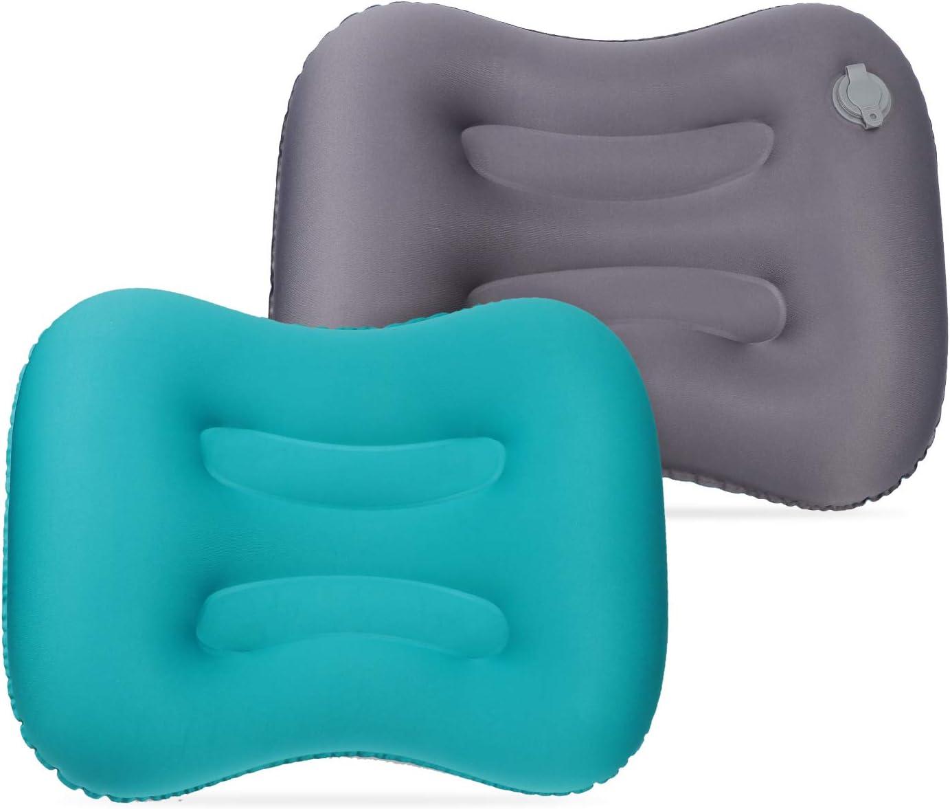 TsunNee Almohada Inflable para Camping Soporte Lumbar para el Cuello para mochileros Senderismo Coche Oficina c/ómoda y Plegable Playa Paquete de 2 Almohada de Viaje Ultraligera avi/ón
