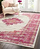 Nourison (PSN03) Passion Modern Traditional Colorful Ivory/Fushia Pink Area Rug, 8' x  10'