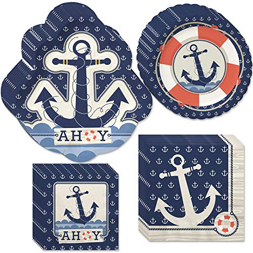 Big Dot of Happiness Ahoy Nautical - Party Tableware Plates, Napkins - Bundle for 32 -