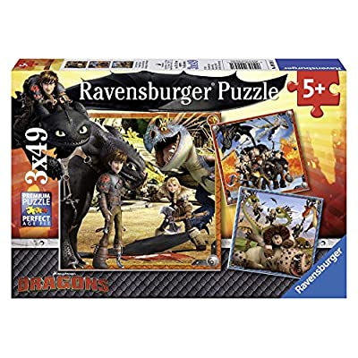 Ravensburger How to Train Your Dragon Jigsaw Puzzle (3 x 49 Piece): Toys & Games
