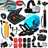Xtech® DIVE / DIVING ACCESSORIES Kit for GoPro Hero 4 3+ 3 2 1 Hero4 Hero3 Hero2, Hero 4 Silver, Hero 4 Black, Hero 3+ Hero3+ Hero 3 Silver, Hero 3 Black and for Swimming, Surfing, Snorkel, Canoeing, Rowing, Rafting, Sailing, WindSurfing, Diving, Water Skiing and other Similar Water Sports Activities Includes: Large GoPro Camera Travel Case + Chest Strap Mount + Head Strap Mount + Camera Wrist Mount + Hermetically Sealed Floating Bobber + Selfie Stick Monopod Pole + Helmet Harness Mount +MORE