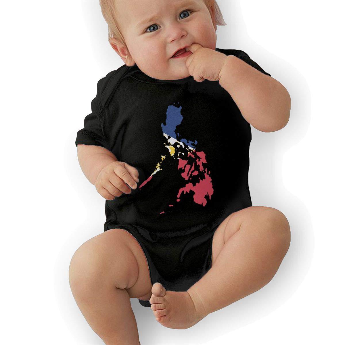 Cute Filipino Map Philippines Flag Jumpsuit U88oi-8 Short Sleeve Cotton Bodysuit for Unisex Baby