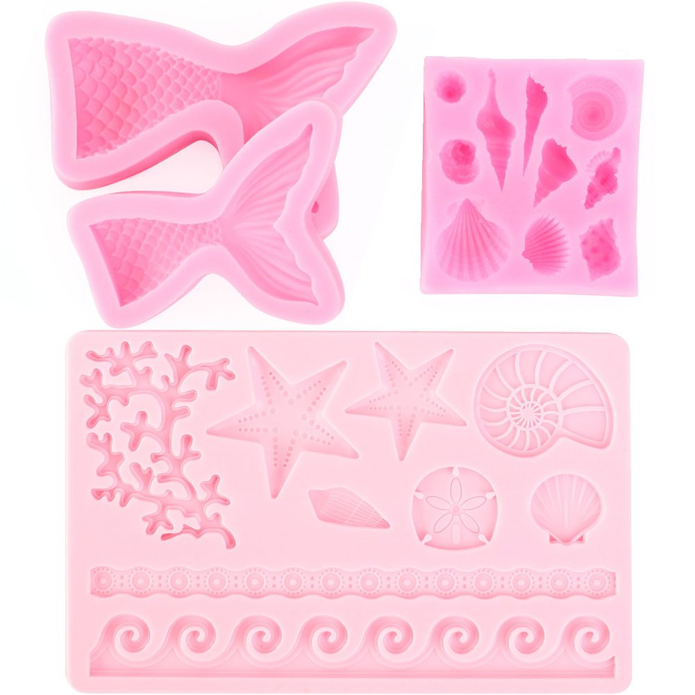 Scivokaval Ocean Sea Life Theme Cute Seashell Mermaid Tail Silicone 3D Baking Chocolate Fondant Soap Candy Cake Decor Jelly Sugarcraft Gumpaste Pastry Clay Making Ice Cube Tray Fimo Molds Set of 4