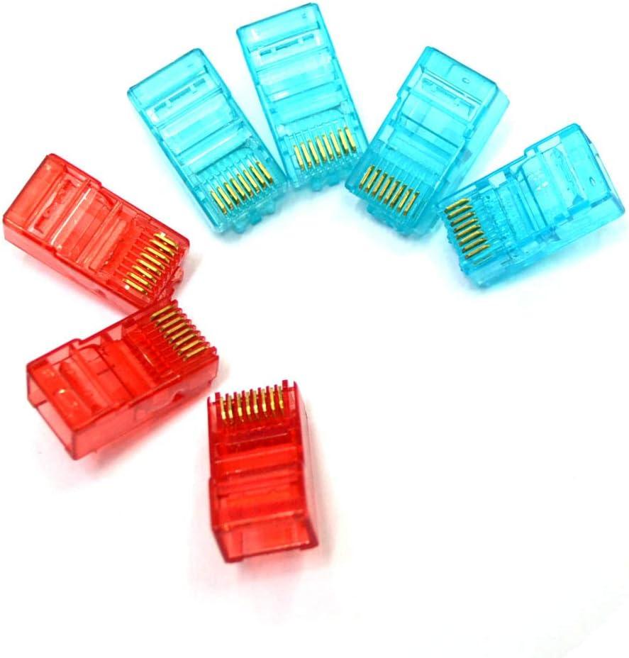 Blue SIUONI 100Pcs Cat5E Modular Connector Ends Ethernet Network LAN Cable Plug 8P8C RJ45 Crimp Connectors Crystal Network Head Colorful Transparent