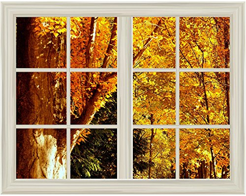 Yellow Tree Leaves in Autumn Window View Mural Wall Sticker