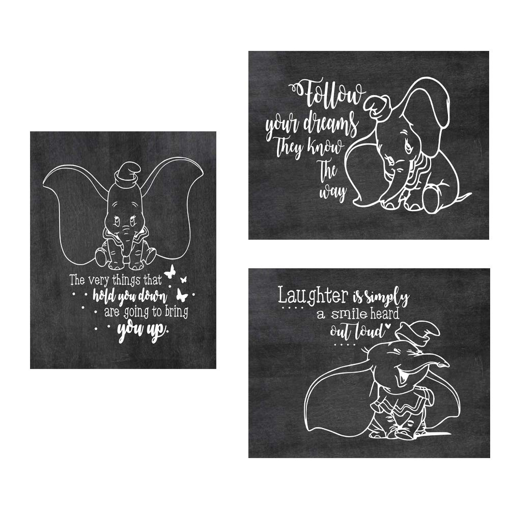 """Simply Remarkable Dumbo Poster Print Photo Quality - Made in USA - Disney Family House Rules - Frame not Included (8"""" x 10"""", Chalk 3 Pack)"""