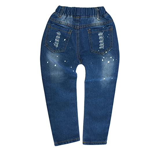 BINIDUCKLING Boys' Girls' Blue Denim Jeans Kids Ripped Elastic Waist  Trousers: Amazon.co.uk: Clothing