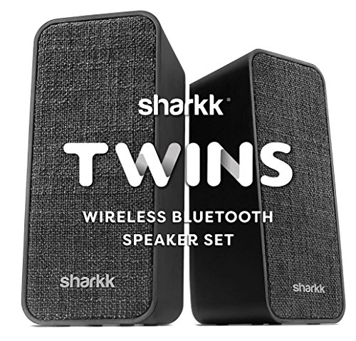 (Sharkk Twins Portable Bluetooth Speaker Set Bluetooth 4.2 Stereo Wireless Laptop and Desktop Speakers with 30ft+ Transmission Range)