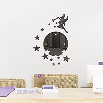 Mysterious Feen Besprühen Stern DIY Kombination Spiegel Wandaufkleber  Wohnzimmer Schlafzimmer Kinderzimmer Wände Dekorative,Black