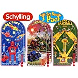 Schylling Classic Pinball Games Space Race, Dinosaurs & Home Run! Gift Set Bundle - 3 Pack
