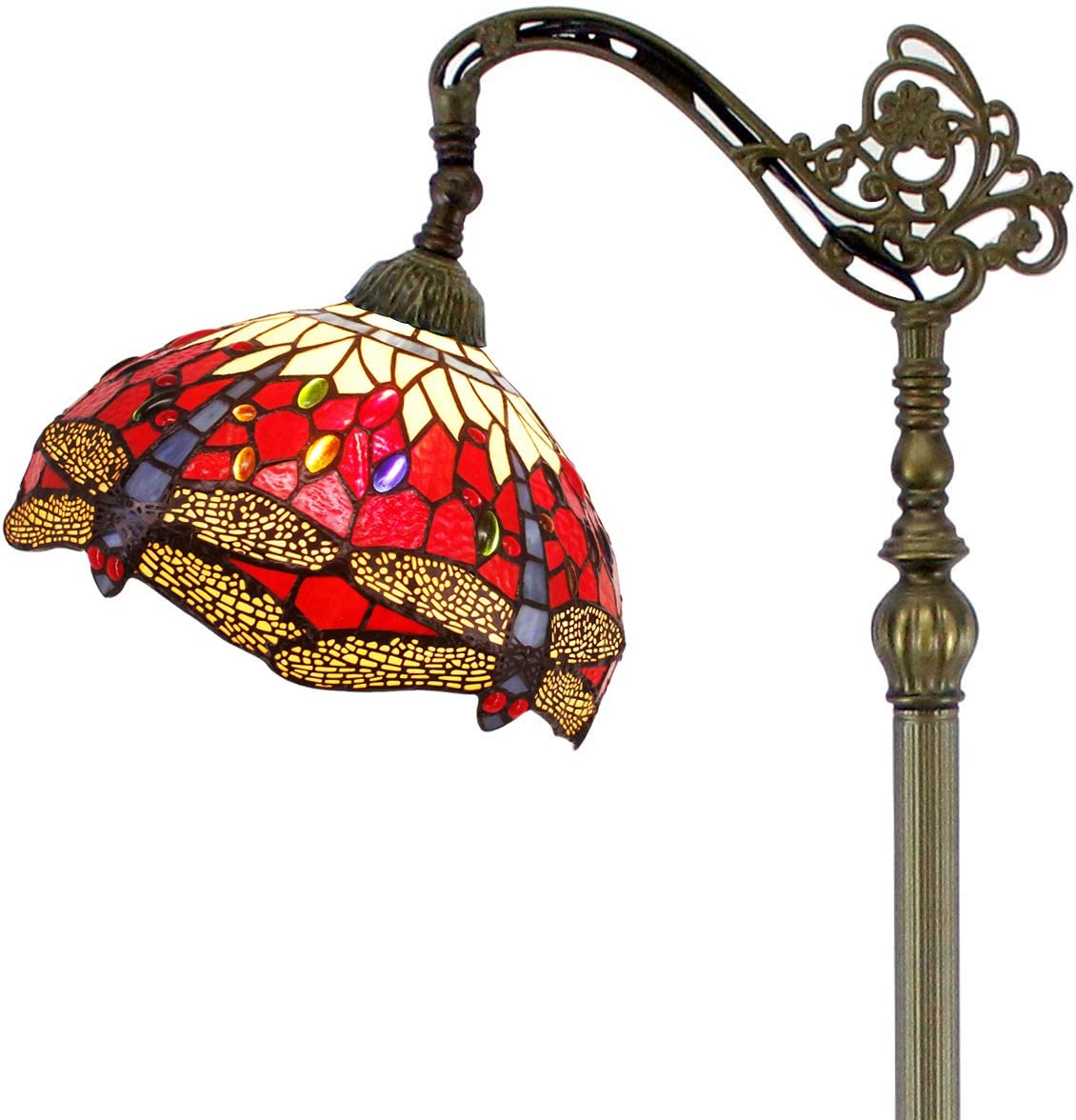 Tiffany Style Reading Floor Lamp Red Yellow Cloud Stained Glass with Crystal Bead Dragonfly Lampshade 64 Inch Tall Antique Arched Base for Bedroom Living Room Lighting Table Set Gifts S328 WERFACTORY
