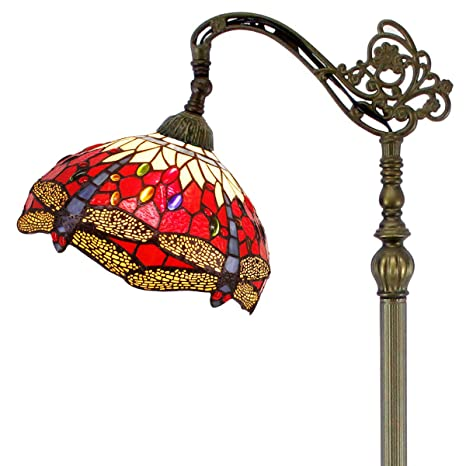 a00b4c8f81 Tiffany Style Reading Floor Lamp Red Yellow Cloud Stained Glass with  Crystal Bead Dragonfly Lampshade 64