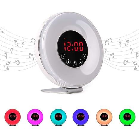 Radio reloj despertador digital FM con simulación de luz natural de amanecer y anochecer | Alarma con sonidos relajantes de la naturaleza e ...