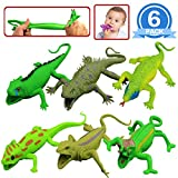 Lizards Toys,9-inch Rubber Lizard Set(6 PACKS),Food Grade Material TPR Super Stretchy,With Learning Study Card Gift Bag-Realistic Lizard Figure Bathtub Squishy Toy-Gecko Iguana Chameleon Komodo Dragon
