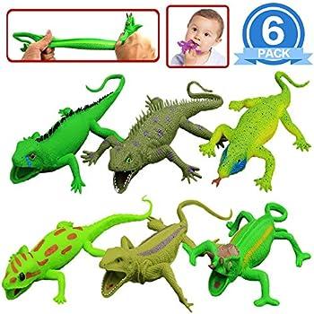 Lizards Toys,9-inch Rubber Lizard Set(6 PACKS),Food Grade Material TPR Super Stretchy,With Learning Study Card Gift Box-Realistic Lizard Figure Bathtub Squishy Toy-Gecko Iguana Chameleon Komodo Dragon