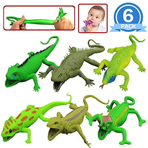 Lizards Toys,9-inch Rubber Lizard Set(6 PACKS),Food Grade Material TPR Super Stretchy,With Learning Study Card Gift Box-Realistic Lizard Figure Bathtub Squishy Toy-Gecko Iguana Chameleon Komodo Dragon by ValeforToy