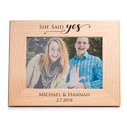 Lifetime Creations Personalized Engagement Picture Frame 5 X7 Landscape Engraved Personalized She Said Yes Frame