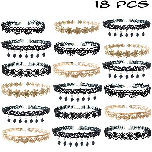 FROG SAC 18 PCs Black and Gold Lace Choker Necklace Set for Women and Girls - Great and Party Favors Fashion Jewelry (Great Jewellery Frog)