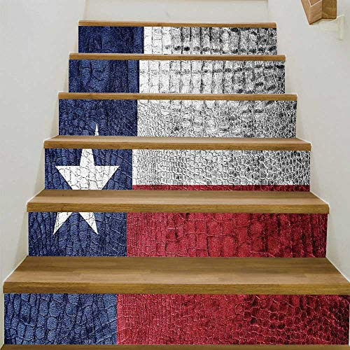 Crocodile Texture Base - YOLIYANA Western Decor Staircase Stair Floor Sticker,Texas State Flag Painted on Luxury Crocodile Snake Skin Texture Looking Patriotic Emblem Decorative for Stairs Decal,39.3