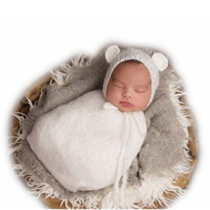 Vemonllas Tejer a Mano Recién Nacido Chico Niña Conjuntos Bebé Fotografía Accesorios Mohair Tejer Sombreros Sacos de Dormir: Amazon.es: Ropa y accesorios
