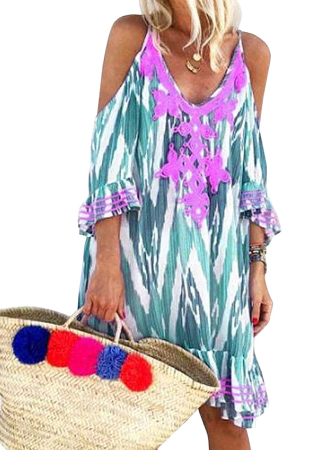 2293d67e6b Dokotoo Womens Cold Shoulder Printed V Neck Vacation Beach Cover Ups Dresses  at Amazon Women's Clothing store: