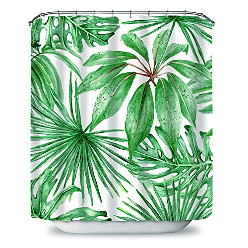 (Palm Leaf Shower Curtain, Realistic Vivid Leaves of Palm Tree Growth Ecology Lush Botany Themed Print, Fabric Bathroom Decor Set with Hooks, 72 inches, Fern Green White)
