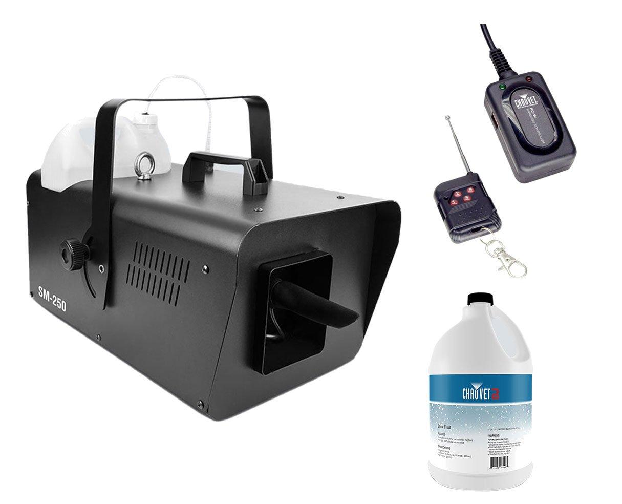 Chauvet SM-250 SM250 Snow Machine + FC-W Wireless Remote + Snow Fluid Gallon