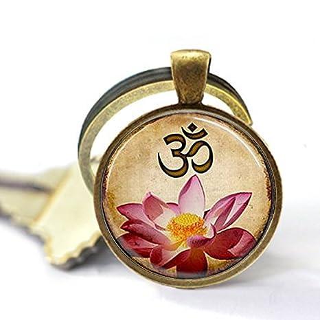 SUMMERTY NEW Llavero de Yoga, Llavero Om, Flor de Loto Rosa ...