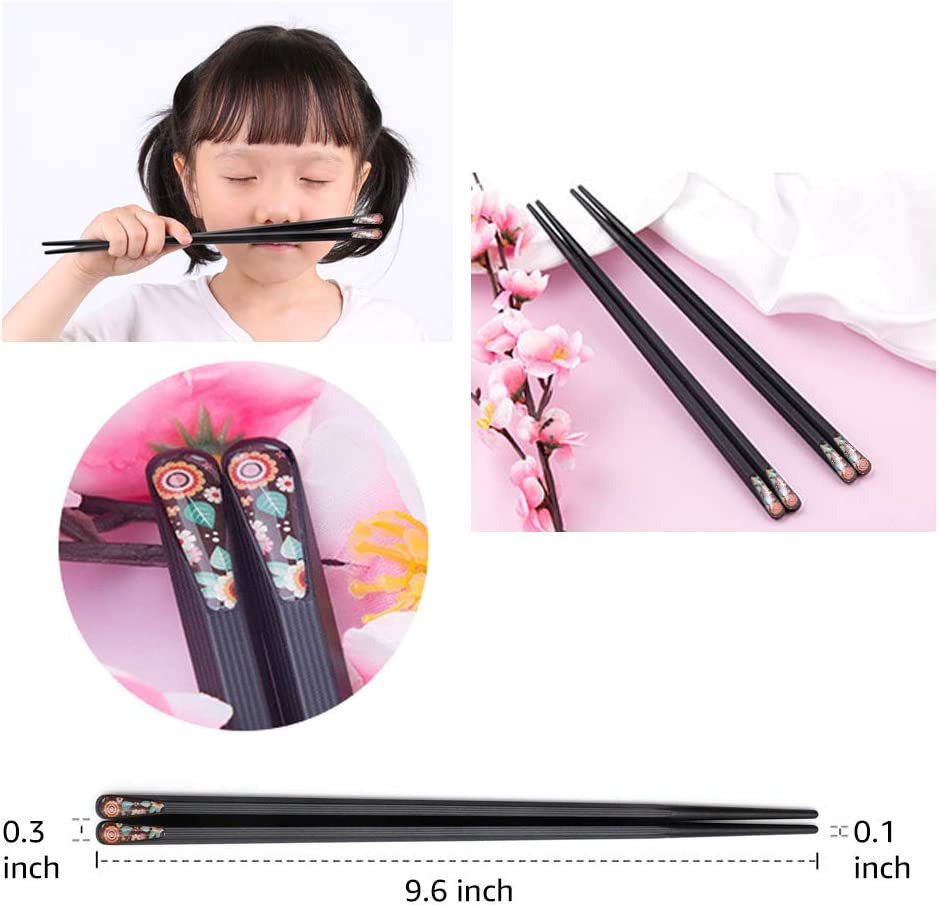 Fiberglass Alloy Chopsticks Series lucky flower Japanese Korean style Non-slip Luxury Reusable Chopsticks Family Use 5 Pairs Gift Set