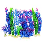 Otterly Pets Plastic Plants for Fish Tank Decorations Large Artificial Aquarium Decor and Accessories - 8-Pack 8