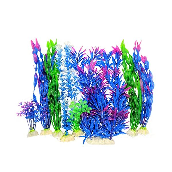 Otterly Pets Plastic Plants for Fish Tank Decorations Large Artificial Aquarium Decor and Accessories - 8-Pack 1