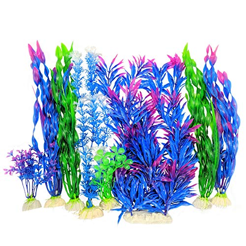 Otterly Pets Plastic Plants for Fish Tank Decorations Large Artificial Aquarium Decor and Accessories – 8-Pack