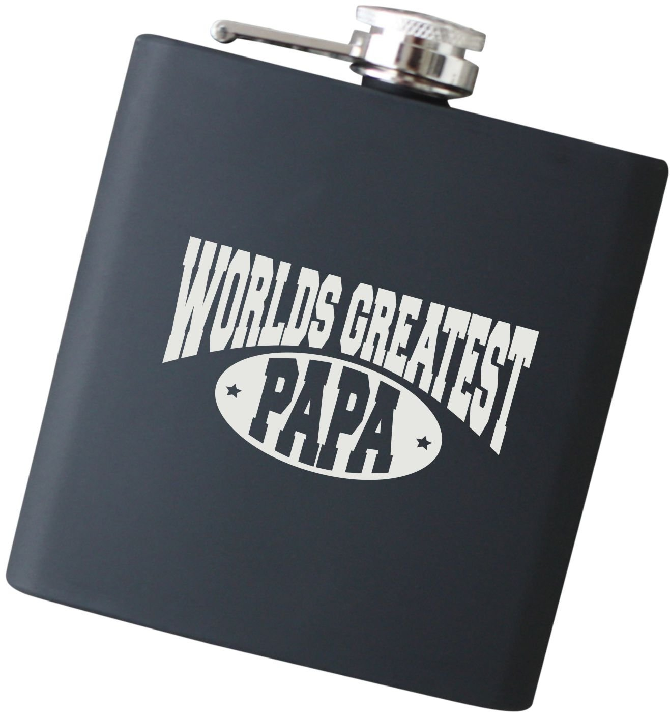 Engraved Black Hip Flask, Worlds Greatest Papa - Perfect for Father's Day Gift, Gift for Grandpa, Birthday Gifts for Dad - F46.NC