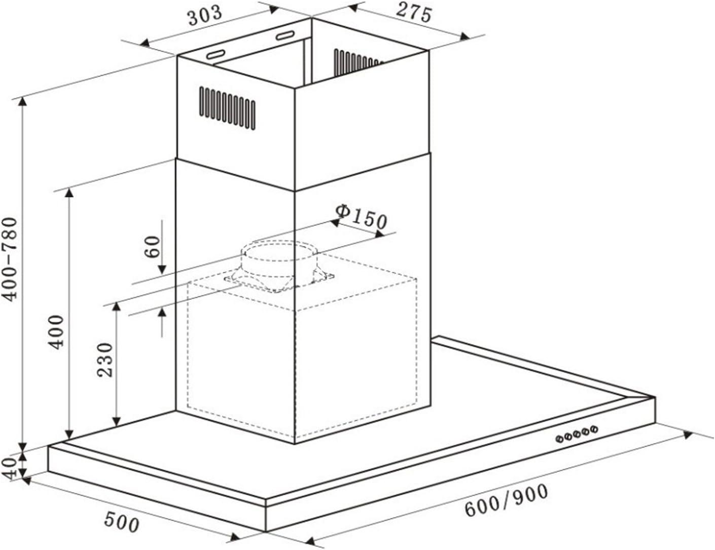 Klarstein Limelight Campana extractora de pared (90 cm, clase energética A, extracción de humo 620 m³/h , acero inoxidable, temporizador, filtro antigrasa apto para lavavajillas): Amazon.es: Grandes electrodomésticos