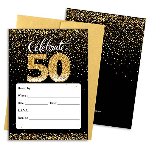 50th Birthday Party Invitation Cards with Envelopes, 25 Count (Black and Gold) (Birthday Invitations 50th)