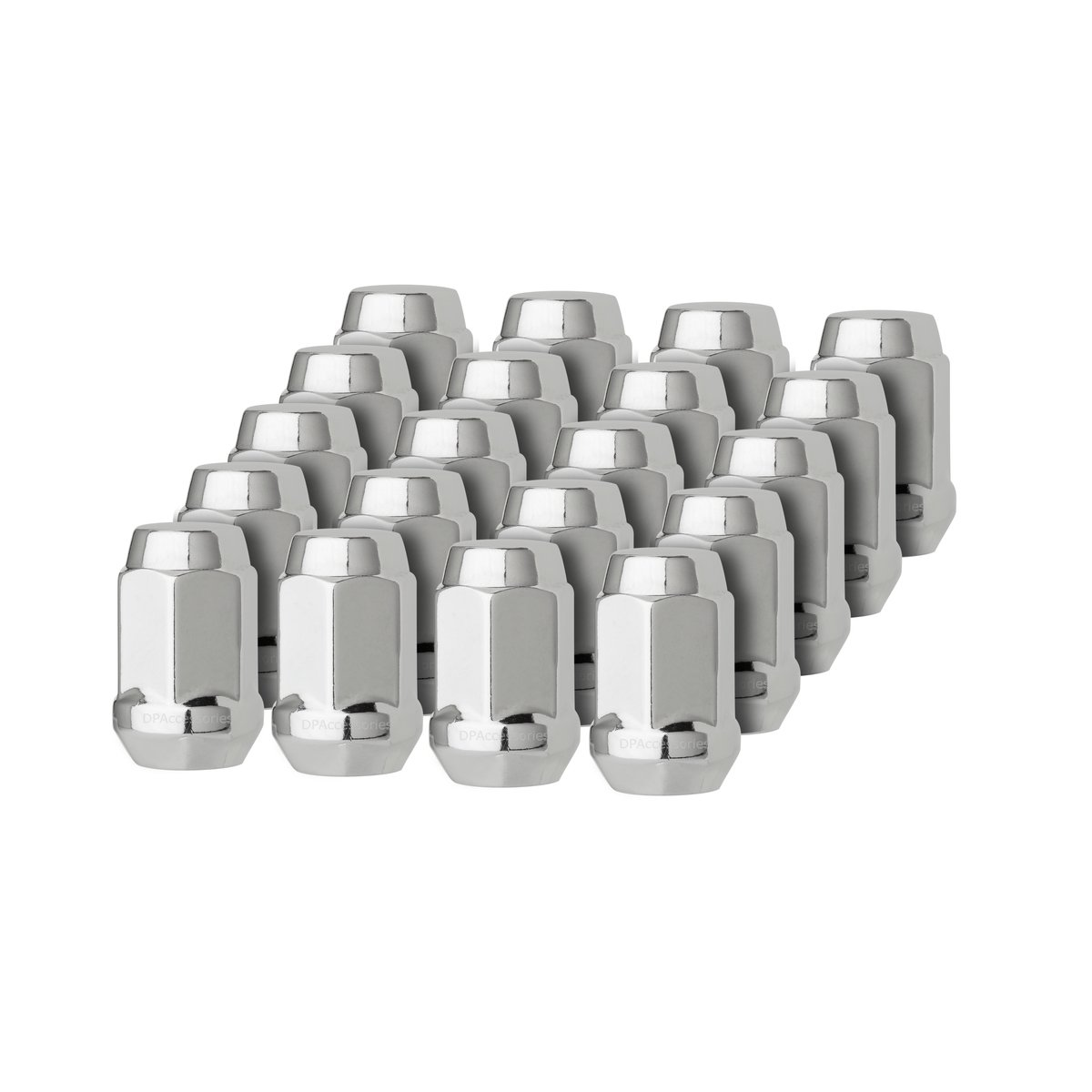 DPAccessories LCB3B6HC-CH04020 20 Chrome 12x1.5 Closed End Bulge Acorn Lug Nuts - Cone Seat - 19mm Hex Wheel Lug Nut