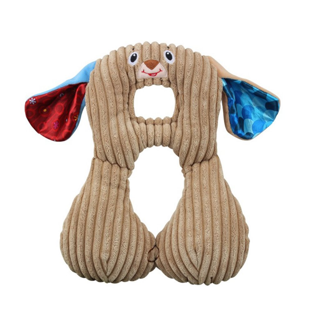 Demana Reverisible Baby Neck Support Pillow Head Support for Car Seat and Strollers,Super Soft for All Seasons,Doggie (Coffee)