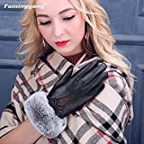 Generic Leather_ glove gloves women _sheepskin_ glove gloves ,_rabbit hair Bow Tie Korean_style_of lovely _warm_plus_velvet_thick_ leather glove gloves women girls winter
