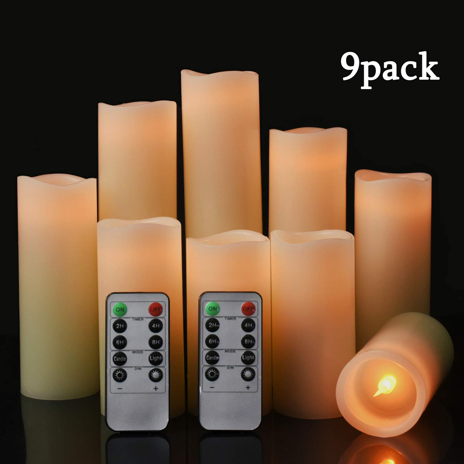 JUNPEI Flameless Candles 9 Sets (H 4''5'' 6''7'' 8''9'')Holiday gift LED Candles with 10 Key Remote Control Timer, Ivory True Candle Column, Suitable for Home Wedding Parties (Without Batteries)