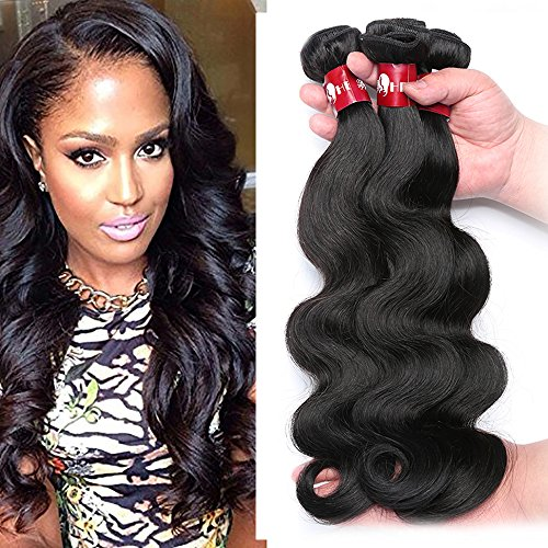 HEBE Peruvian Hair 3 Bundles 16 18 20 Peruvian Body Wave Hair Weave 100% Virgin Peruvian Human Hair Extensions Natural Black Color